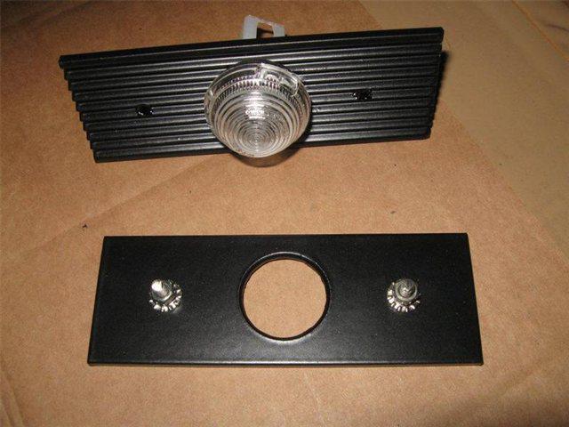 Afbeeldingen van knipperlicht zijkant, wit, met aluminium bevestigingsplaatje
