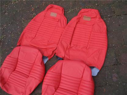 Afbeeldingen van set stoelbekleding 1500, Bertone, leder, rood