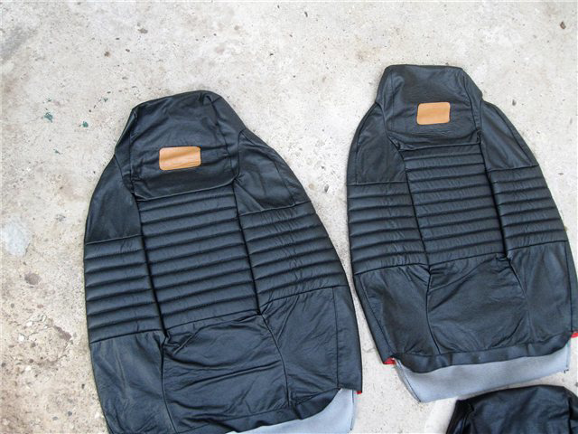 Afbeeldingen van set stoelbekleding 1500, Bertone, leder, zwart